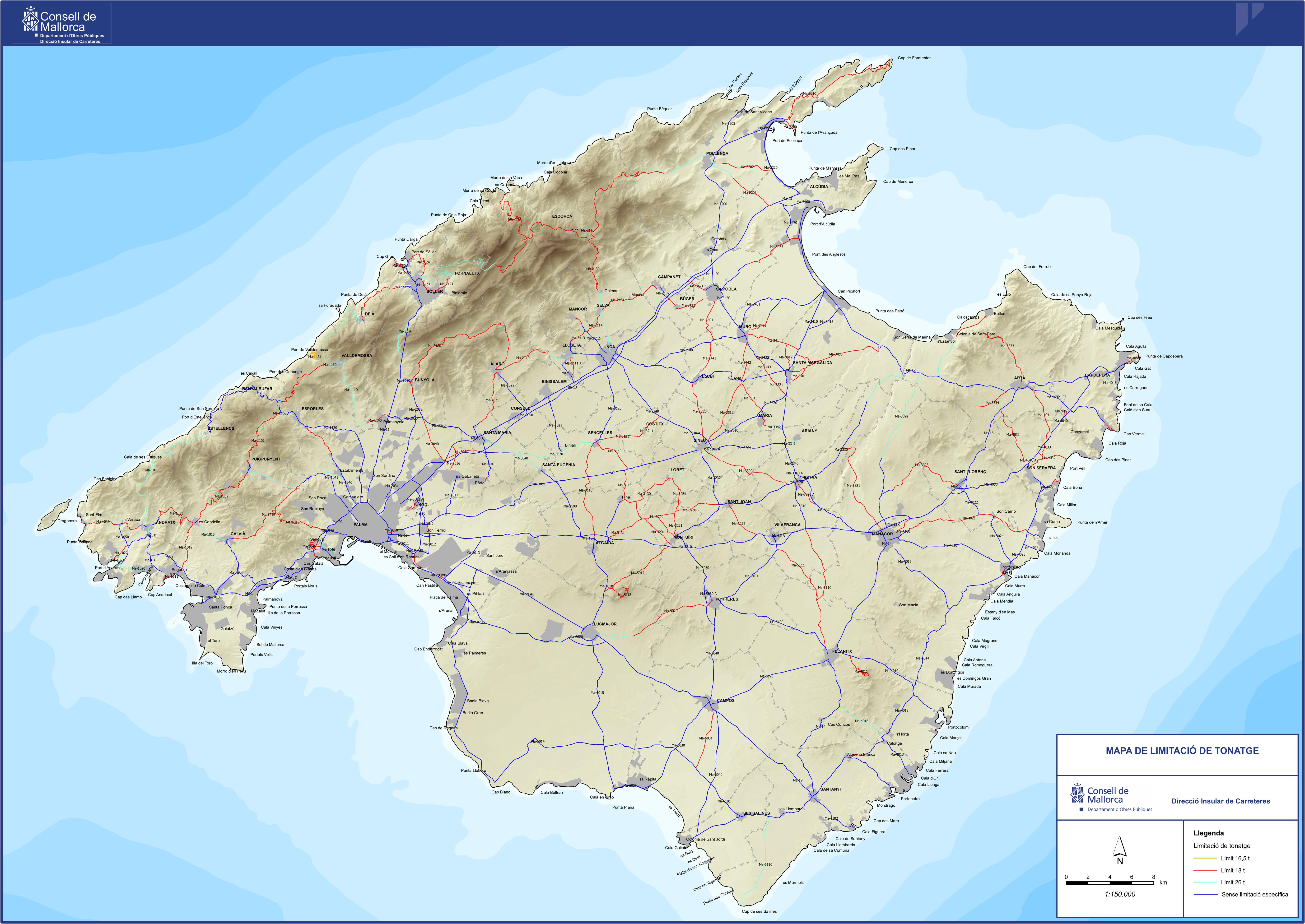 Mapa Carreteras De Mallorca.El Trafico Consell De Mallorca